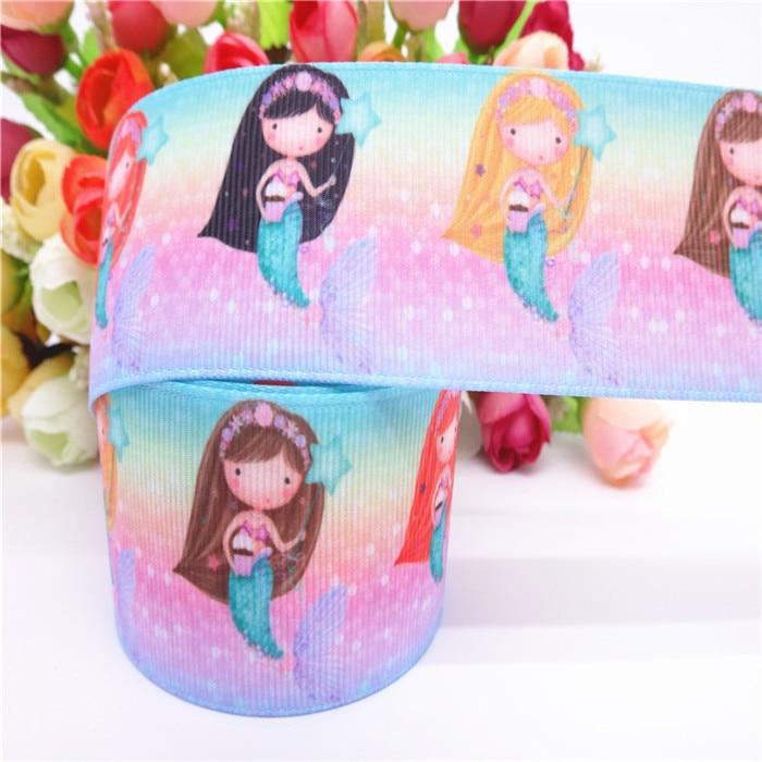 DIY 5 Yard 1/'/' Cartoon Mermaid Printed Grosgrain Ribbon Hair Bow Sewing Ribbon