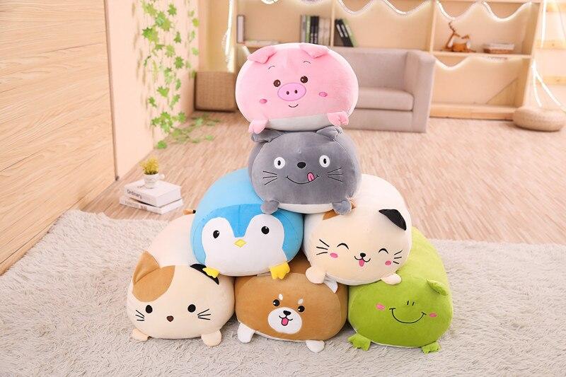 2019new Macio Animal Dos Desenhos Animados Travesseiro Almofada Bonito Fat Cat Dog Totoro Porco Sapo Pinguim de Pelúcia Brinquedo de Pelúcia Adorável crianças Birthyday presente