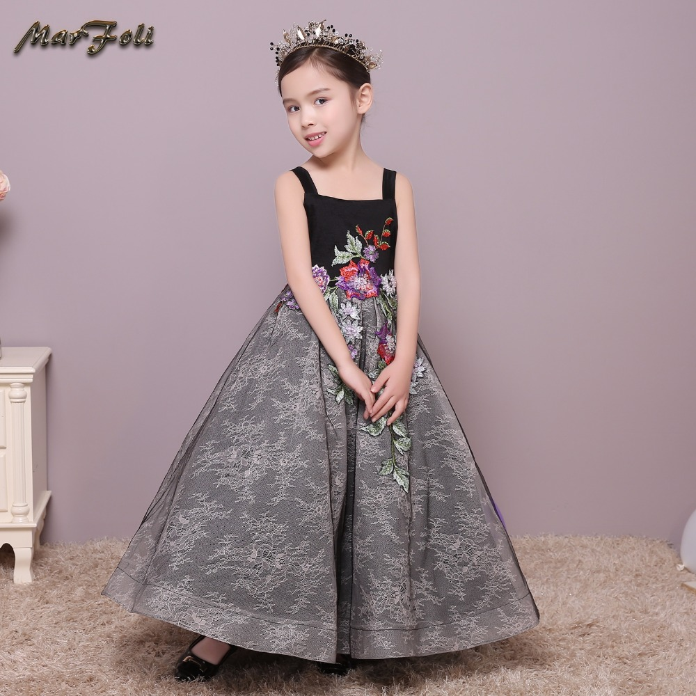 Real Photo Flower Girl Dresses floor Length Tulle Ball Gown Kids Wedding Party Dresses Pageant sleeveless Formal Dress #ZT017 new wedding party formal ball gown flowers girl dress baby pageant dresses birthday cummunion toddler kids tulle custom ad 1644