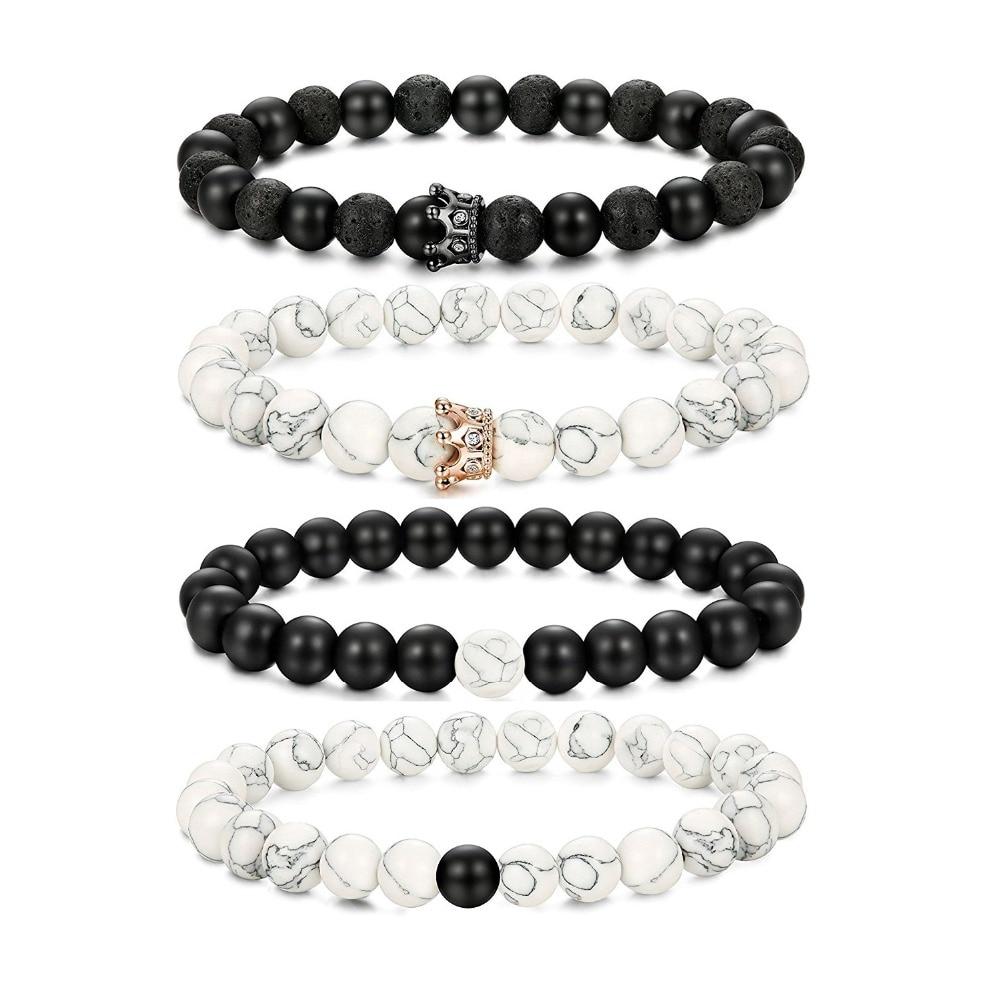 3547d706cf His Queen Her King Bracelets Set Natural Stone Beaded Couples Bracelet for  Men Women Distance Crown Bracelets Set Adjustable 8MM 1,74 €. SL018 Black  Love