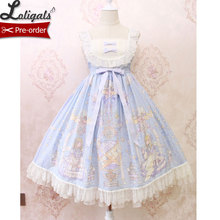 Dolce Lolita Casual Vestito ~ Angelo delle Libro Stampato Midi Vestito da Alice Ragazza ~ Pre-ordine