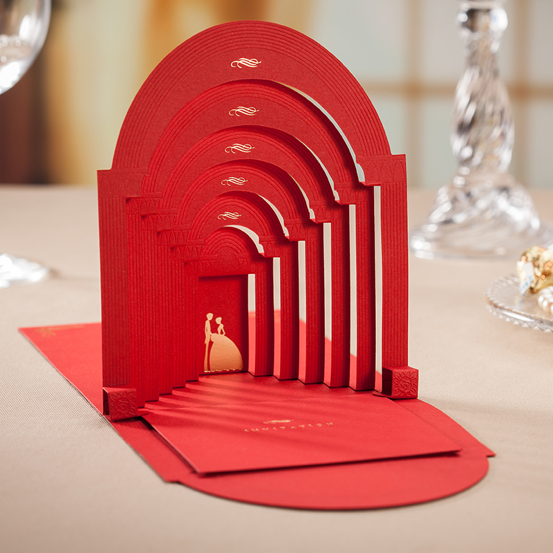 3d Wedding Invitation Cards Red And White Church Design
