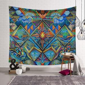 Image 2 - Poliéster Hippie diseño de Mandala tapiz arte de pintura abstracta de pared Gobelin Decoración Para sala de estar artesanía tapices GT0024