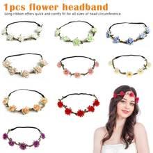 Fashion Women Flowers Headband Bohemian Style Rose Flower Crown Hairband Ladies Elastic Beach Hair Accessories