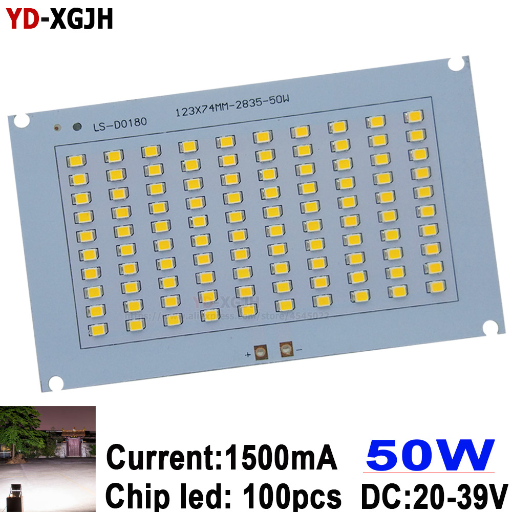 50W 100% Full Power LED Flooding PCB SMD 2835 Led PCB Board 900ma 123x74mm 5000lm Aluminum For Plate Led Flood Light