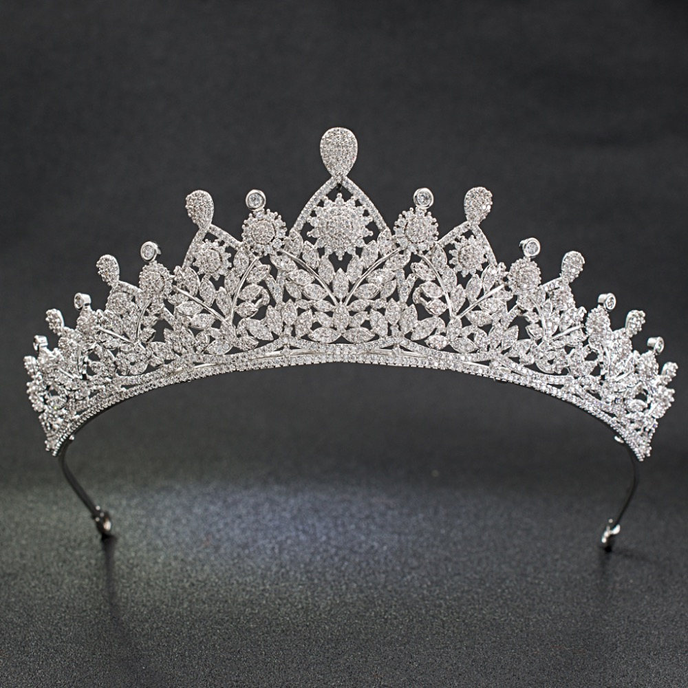 Classic CZ Cubic Zirconia Flower Wedding Bridal Silver Tiara Diadem Crown Women Girl Prom Party Hair Jewelry Accessories S00022