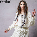 Artka Women's 2015 Spring New Casual Lace Patchwork Embroidery Blouse V-Neck Lantern Sleeve Cotton Shirt S115052C