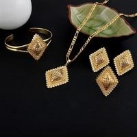 New Arrival Ethiopian Rhombus Bridal Wedding Women Jewelry Set 24k Gold GF Pendant Bangle Ring Earrings