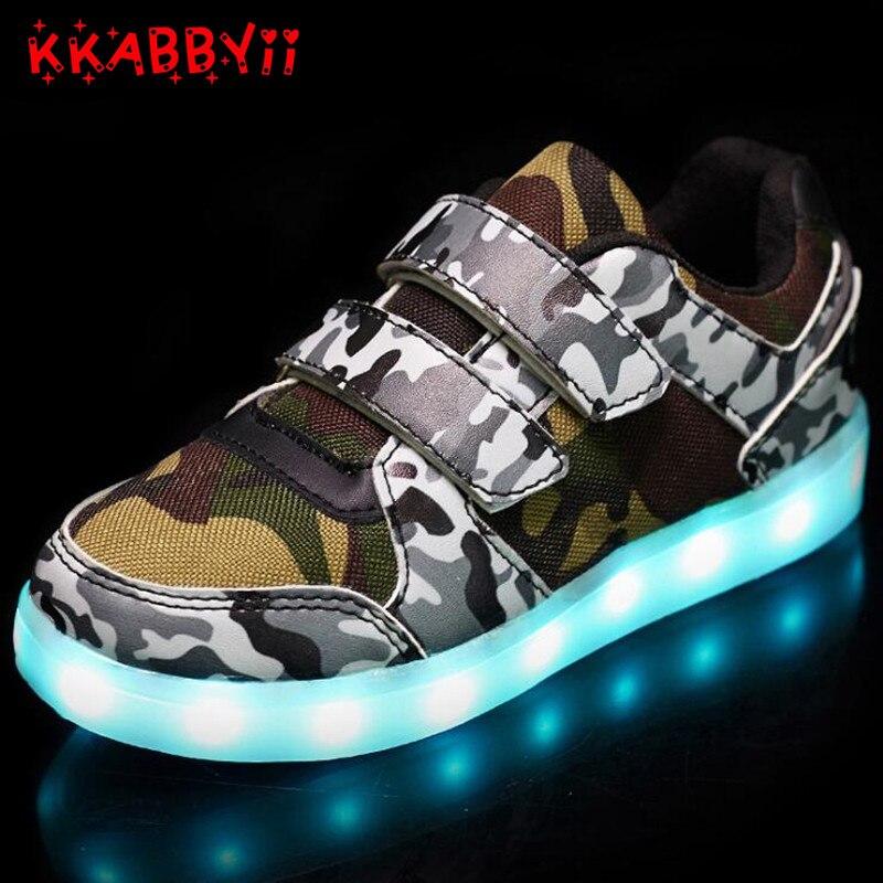 2018 bebé pu Sport LED zapatillas niños KiD Boy moda luminosa niño luz brillante zapato USB UE 25-36
