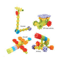 43pcs Creativity DIY assembled hand-cranked rotating gear big particle block castle building blocks set kid's educational toys(China)