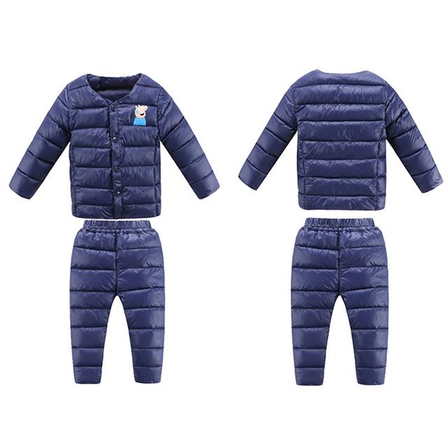 Inverno russo! novo 2016 do Inverno Do Bebê Menino Crianças Meninas Para Baixo Casacos Conjunto de Roupas Calças Jaqueta de Inverno das Crianças para Meninos Das Meninas