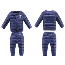 Новинки 2016 Baby Boy Зимние  Одежда детская Зимняя куртка комплект Куртка и Брюки для Девочек и Мальчиков