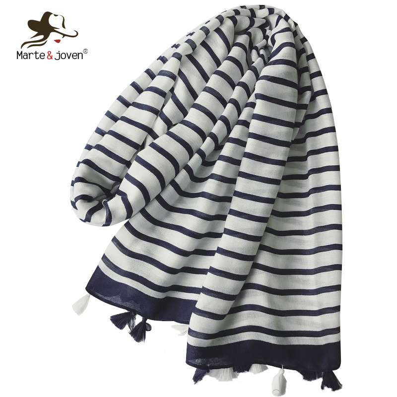 Marte&Joven Autumn Winter Stripe Cotton   Scarf   for Women Large Size Elegant Warm Shawls   Wraps   Classic Blue & White   Scarves   Hijab