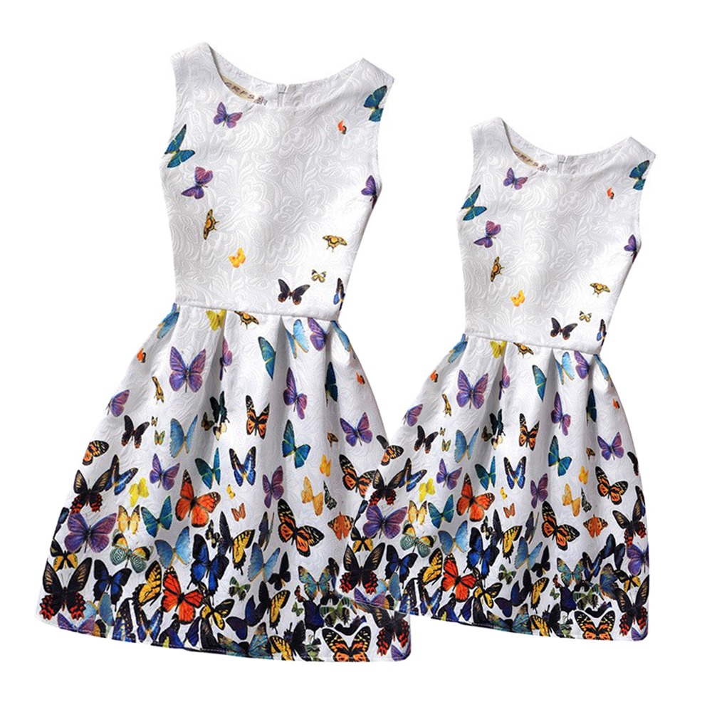 2016 Summer Mother and Daughter Dresses Clothes Family Matching Clothes Family Look Clothing Teenage Girls Printed Dresses Mae