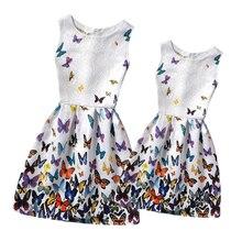 2016 D'été Mère et Fille Robes Vêtements Famille Correspondant Vêtements Famille Look Clothing Adolescentes Imprimé Robes Mae