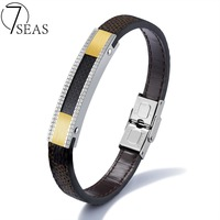 7SEAS Latest Chic Cowhide Bracelets Bangles Elegant Style White Gold Colors Bracelets Man Fashion Wristband Jewelry