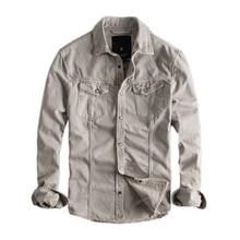 日本の原宿レトロ長袖デニム都市男の子ストリートボタンアップ貨物デニムジーンズシャツプラスサイズ