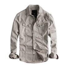 일본 하라주쿠 레트로 긴 소매 데님 셔츠 남성용 도시 소년 Streetwear Button Up 카고 데님 청바지 플러스 사이즈