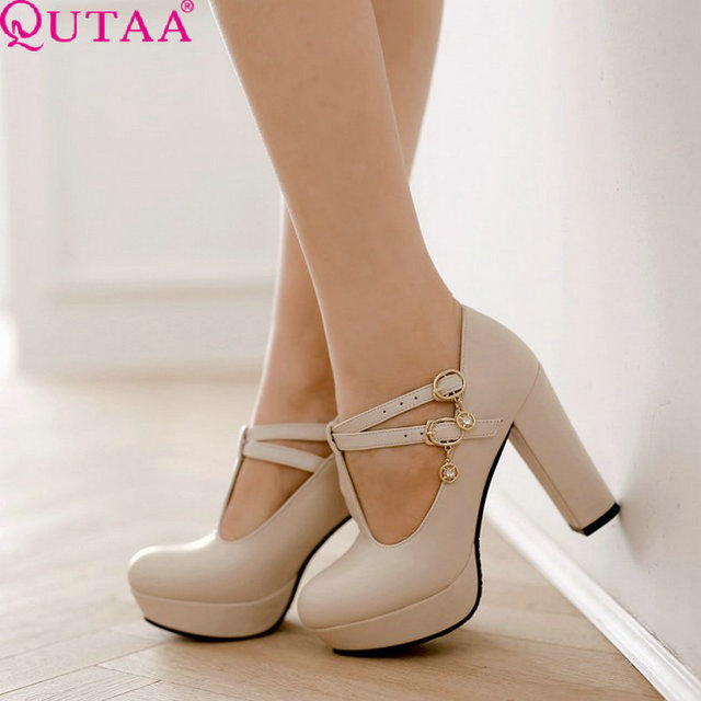 QUTAA New Fashion Lady Shoes Sexy Cross Strap Pumps Platform Shoes Round Toe Thick Heels Shoes Wedding Shoes Size 34-43