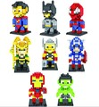 8 unids/lote super man iron man spiderman 7.5 cm acción mini 3d ladrillos bloques loz diamond building blocks juguetes no caja original