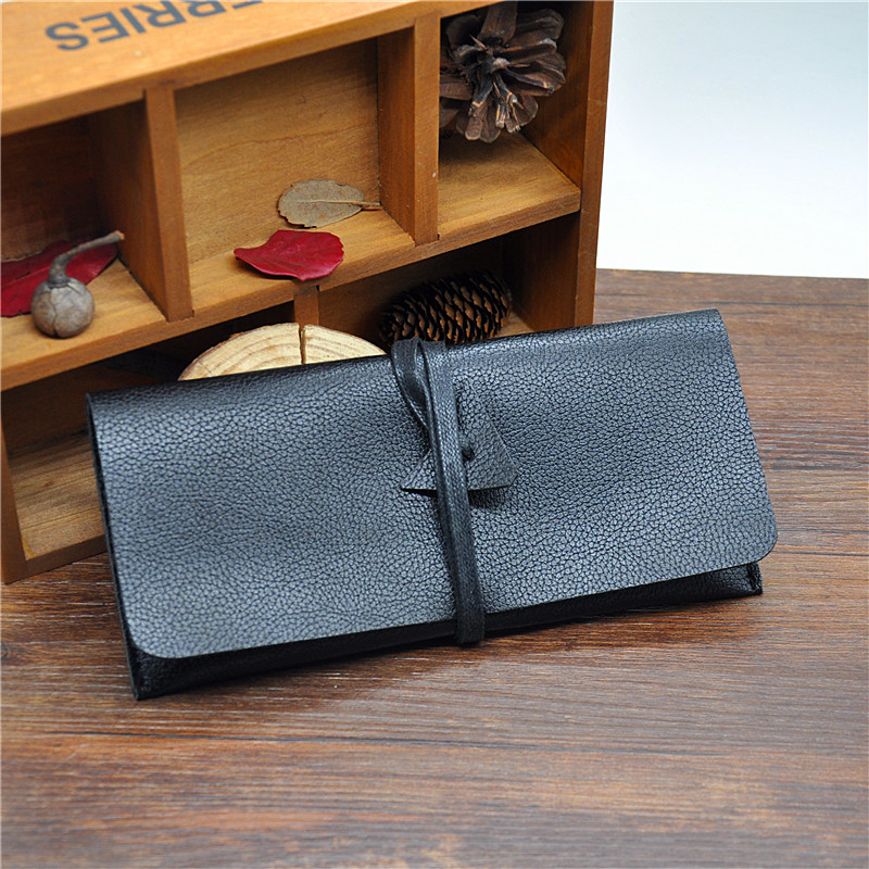 1X Black Leather Tobacco Pouch Bag with Wallet Tip Paper Hols