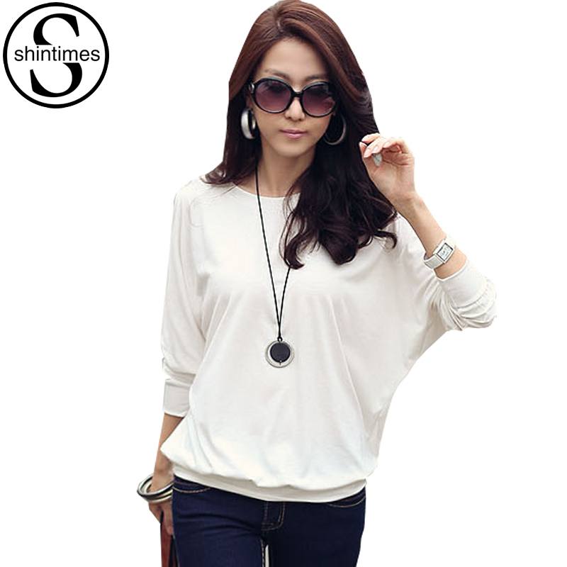 Camisas Femininas Batwing T Shirt Women Tshirt Fashion Womens Long Sleeve Tops White Loose T-shirt Plus Size Woman Clothes