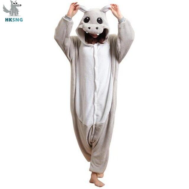 HKSNGสัตว์ผู้ใหญ่สีเทาKigurumi Hippoชุดนอนการ์ตูนสีชมพูRiver Horseครอบครัวปาร์ตี้ฮาโลวีนOnesiesเครื่องแต่งกายชุดนอนKiguru