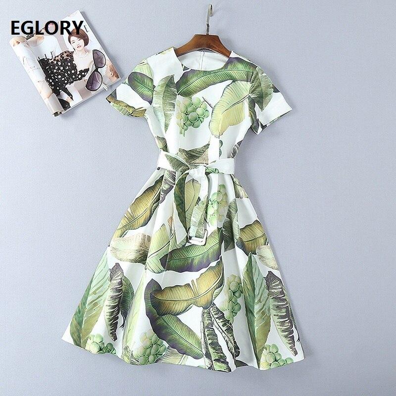 Nouveau 2018 printemps été robe femmes vert feuilles fruits imprime à manches courtes a-ligne genou-longueur douce mignon robe ceintures décontracté Lady