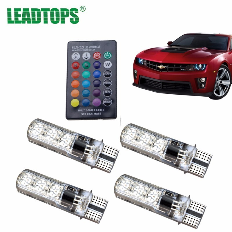 LEADTOPS T10 W5W RGB LED Car Bulbs With Remote Control 194 168 RGB Led Lamp Reading Wedge Lights Strobe 12V Silicone 5050 SMD BJ
