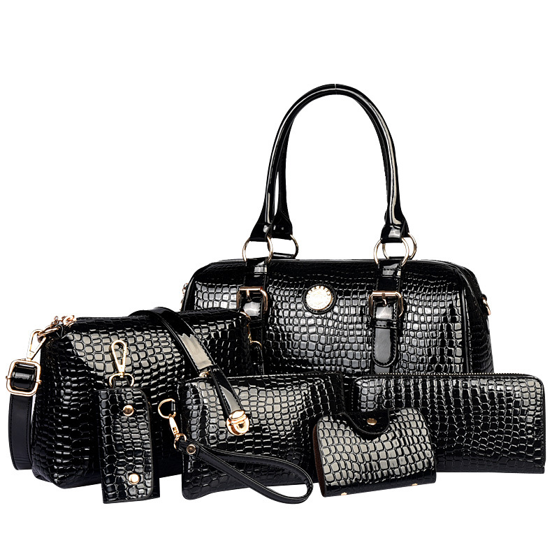 6 Pcs/Sets Women Handbags And Purses Crocodile Pattern Leather Tote Shoulder Bags Small Messenger Bags+Key Bag+Card Holder XN12
