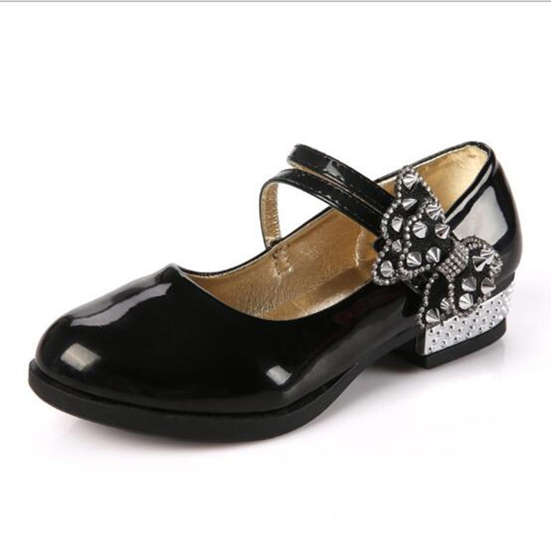 Childrens Patent Leather Shoes,Rivet Big Bow Dancing Shoes,Glitter Girls Princess Sneakers,Child Flats Drop Shipping