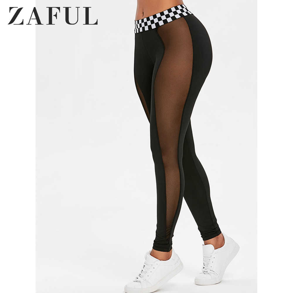 ZAFUL Panel z siatki kontrast pas legginsy 2019 moda kobiety legginsy Slim elastyczność legginsy Fitness leginsy damskie spodnie