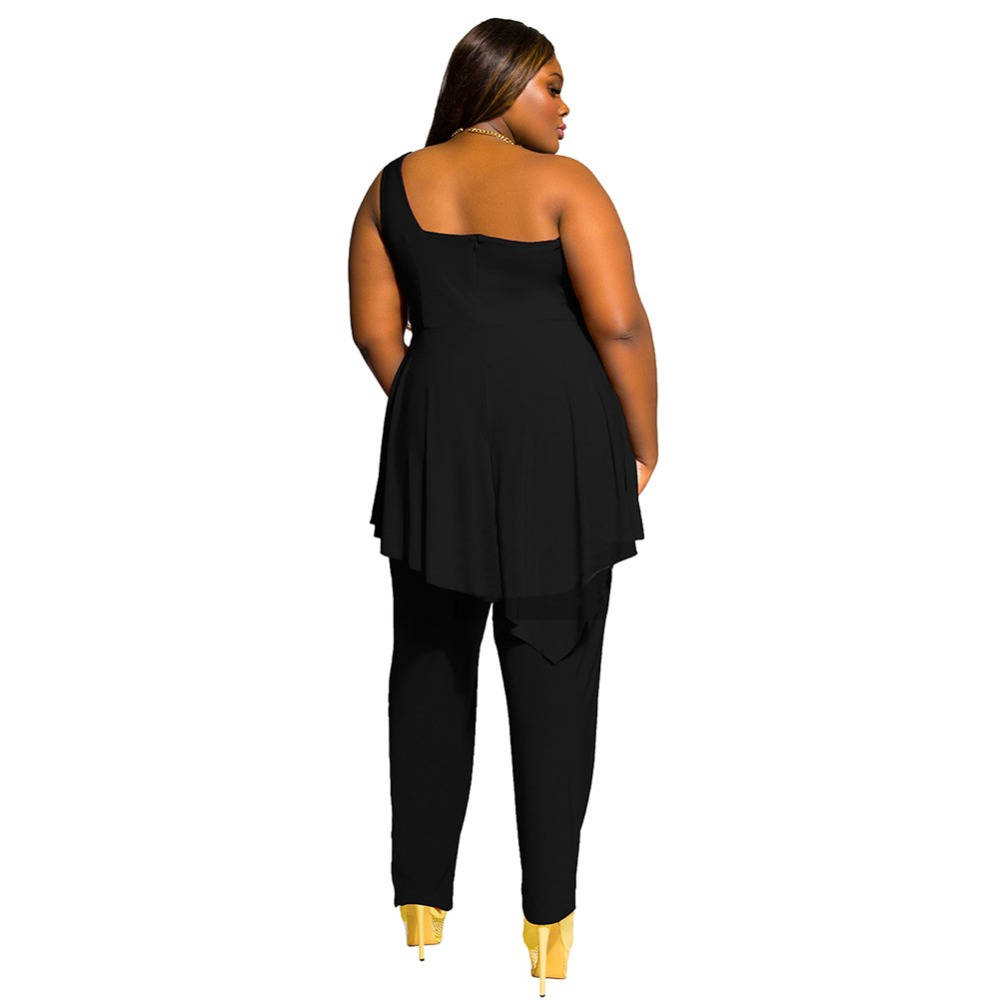 162ed56d5a Plus Size M 2XL For Womens Jumpsuits Sexy Black One Shoulder Jumpsuit  Elegant Women Summer Ruffles Long Romper Playsuit Overall-in Jumpsuits from  Women s ...