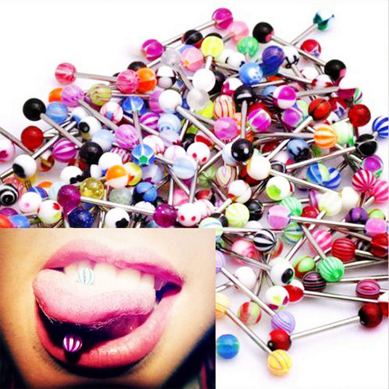 Fashion 30 MIXED Tongue Tounge Rings BARS PIERCING JEWELRY Barbell Tongue Piercing Body Jewelry Barbells Surgical Steel
