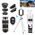 Phone Lentes 8X Telephoto Zoom Telescope  Lenses+Tripod Holder+Monopod+Wide Angle Macro Fish eye Lens For Xiaomi Samsung