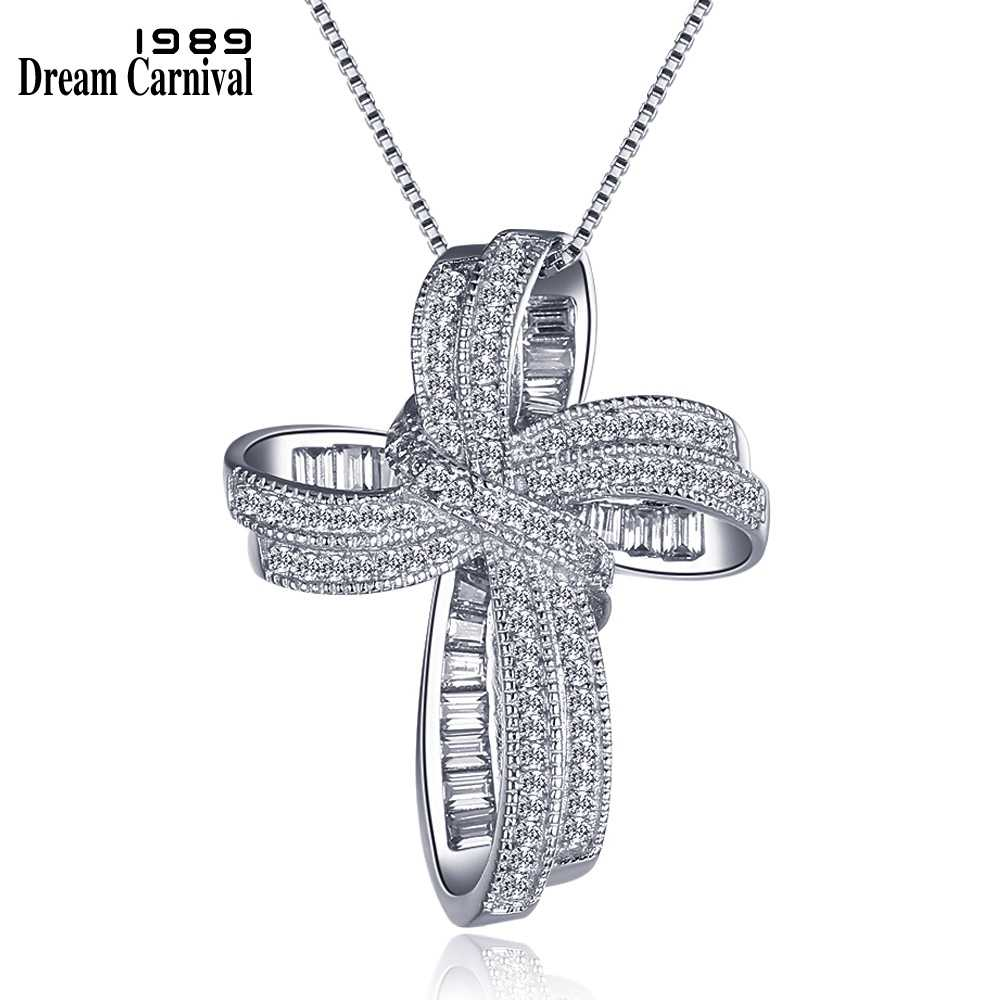 DreamCarnival 1989 Trendy Cross Bowknot Pendant Necklace Link Chain White Cubic Zirconia Fashion Jewelry Christmas Gift SZ12599