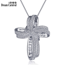 Dreamcarnaval 1989 moda Cruz Bowknot colgante collar cadena enlace blanco Zirconia cúbica joyería de moda regalo de Navidad SZ12599