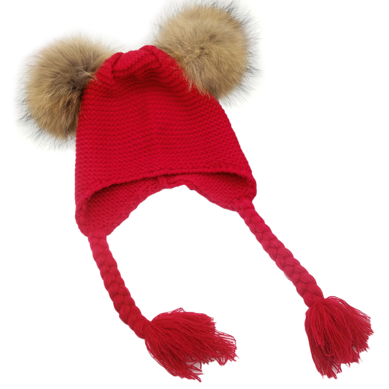 a41e64f5c6a Baby Kids Warm Winter Hat Knitted Cap Double Faux Fur Pom Pom Hats Children  Beanies Boys Girls Two Fur Pompom Caps Bonnet 2018-in Skullies   Beanies  from ...