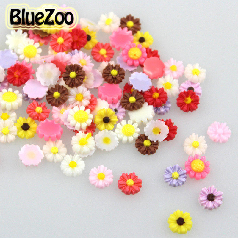 BlueZoo 100pcs/pack Mixed Colors Daisy Nail Resin Flowers Stickers Manicure 3D Decoration Cell Phone Laptop DIY Decoration mixed ring pack 10pcs