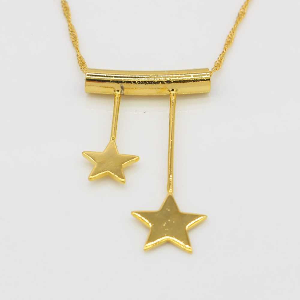 Baru Ganda Pentagrams Liontin Kalung Untuk Wanita/Gadis Perhiasan Warna Emas Ethiopia/Eritrea/India Desigh