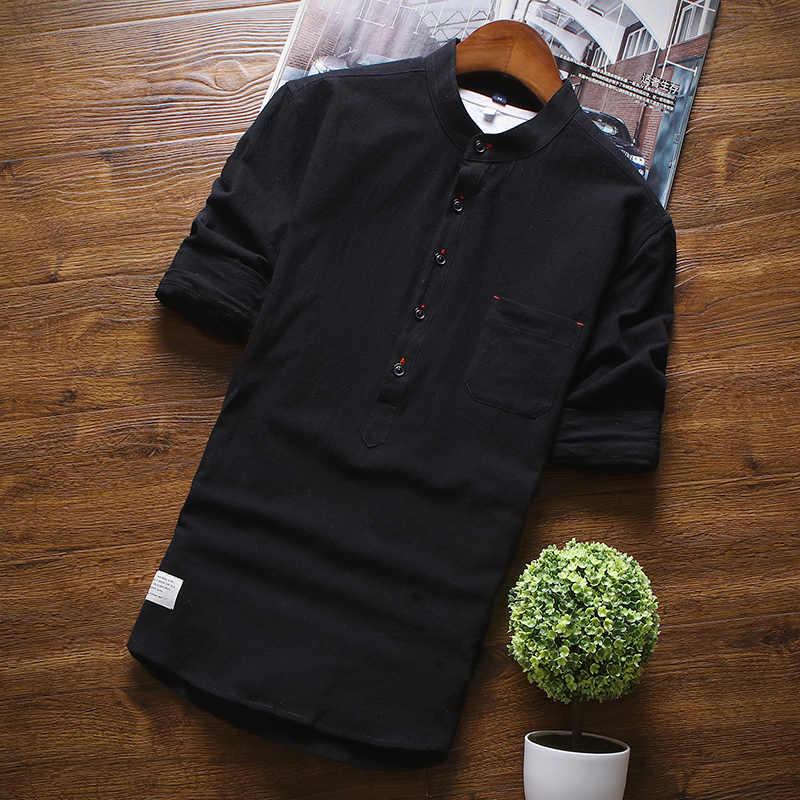 夏メンズ綿シャツファッションカジュアルシャツ男性白、黒、グレーブルー SML XL XXL XXXL シャツ