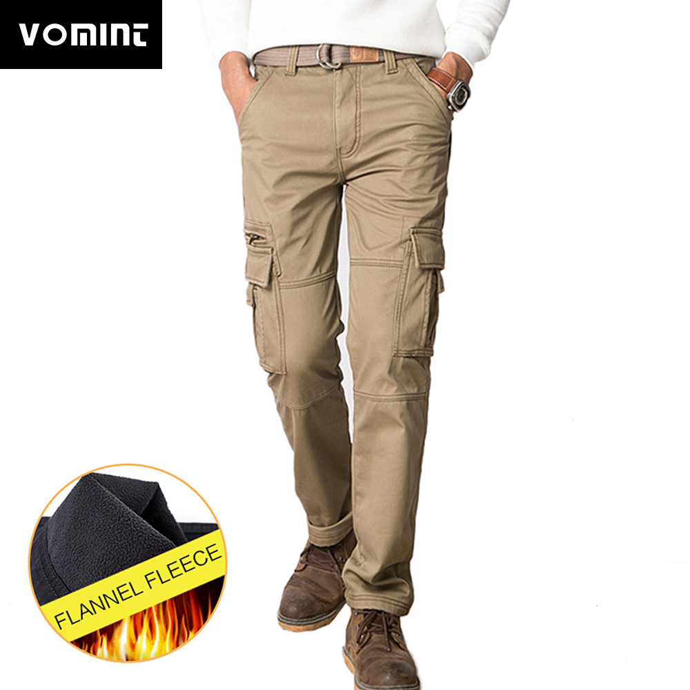 Vomint 2019 New Men Fleece Cargo Pants Straight Fit Thicken Cotton Flannel Warm Pants Winter Wear Male Black Armygreen V7A1P018