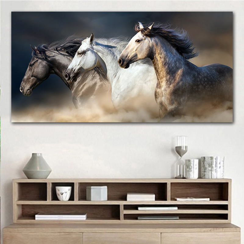 GOODECOR The Running Horse Canvas Art Animal Wall Art Poster Pictures For Living Room Home Decor Wall Canvas Print Painting