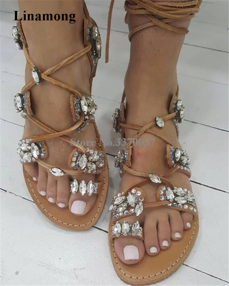 Ladies Summer Bohemia Style Brown Suede Leather Rhinestone Flat Gladiator Sandals Lace-up Crystal Clip Toe Flat Sandals bohemian style summer celebrity lace up flat shoes pom poms cute sandals skyblue pink colorful clip toe comfortable dress sandal
