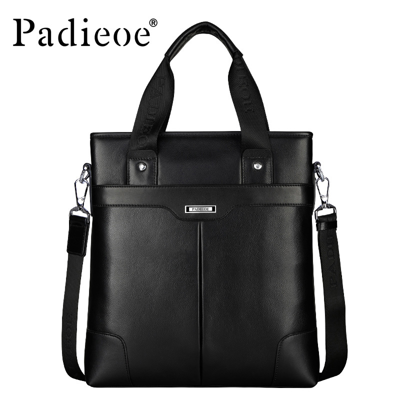 Padieoe Men's Genuine Cow Leather Messenger Bag High Quality Tote Crossbody Bag Luxury Brand Handbag Mens Travel Shoulder Bags
