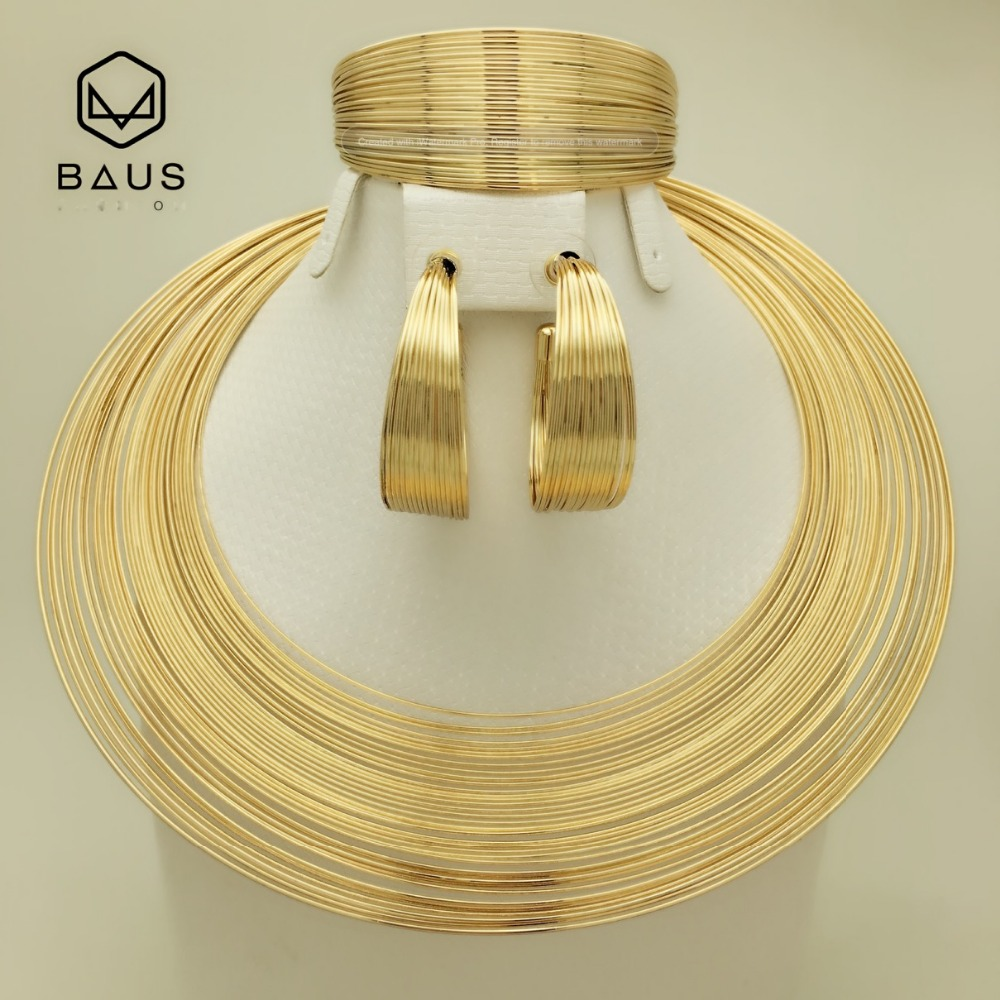 BAUS Eritrea Dubai <font><b>indian</b></font> arabic gold jewelry Set Ethiopian Gold color Nigerian wedding african beads jewelry set ethiopian gold image