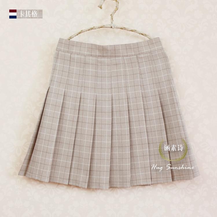 A-line Plaid pleated փեշ Միասնական բարձր իրան - Կանացի հագուստ - Լուսանկար 4