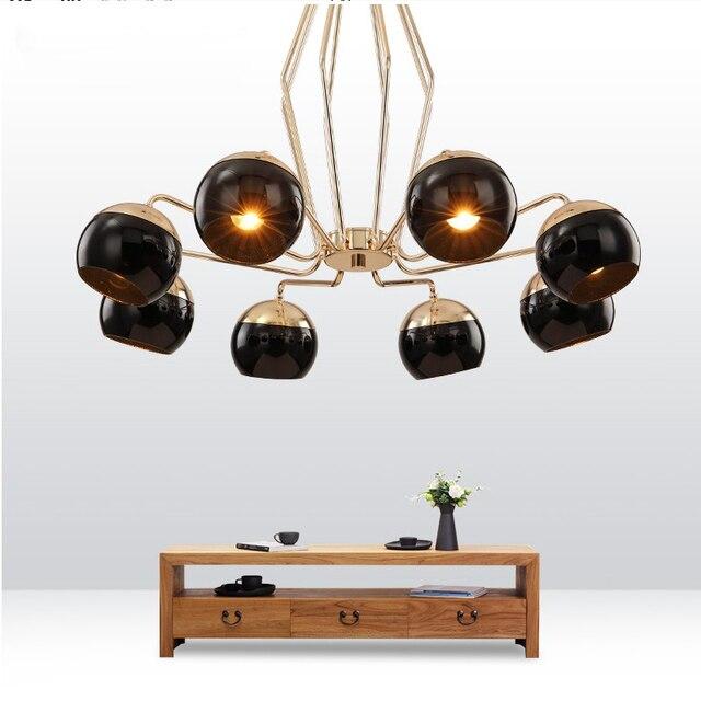 Schwarz Eisenkugel Moderne Kronleuchter Für Esszimmer Gold LEDEuropean Stil  Kreative Kronleuchter Wohnzimmer Lichter