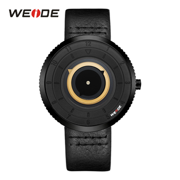 WEIDE Mens Sport Watch Analog Yellow Dial Black Leather Strap Man Watch Quartz Movement Band Military Clock Buckle Wristwatches circle