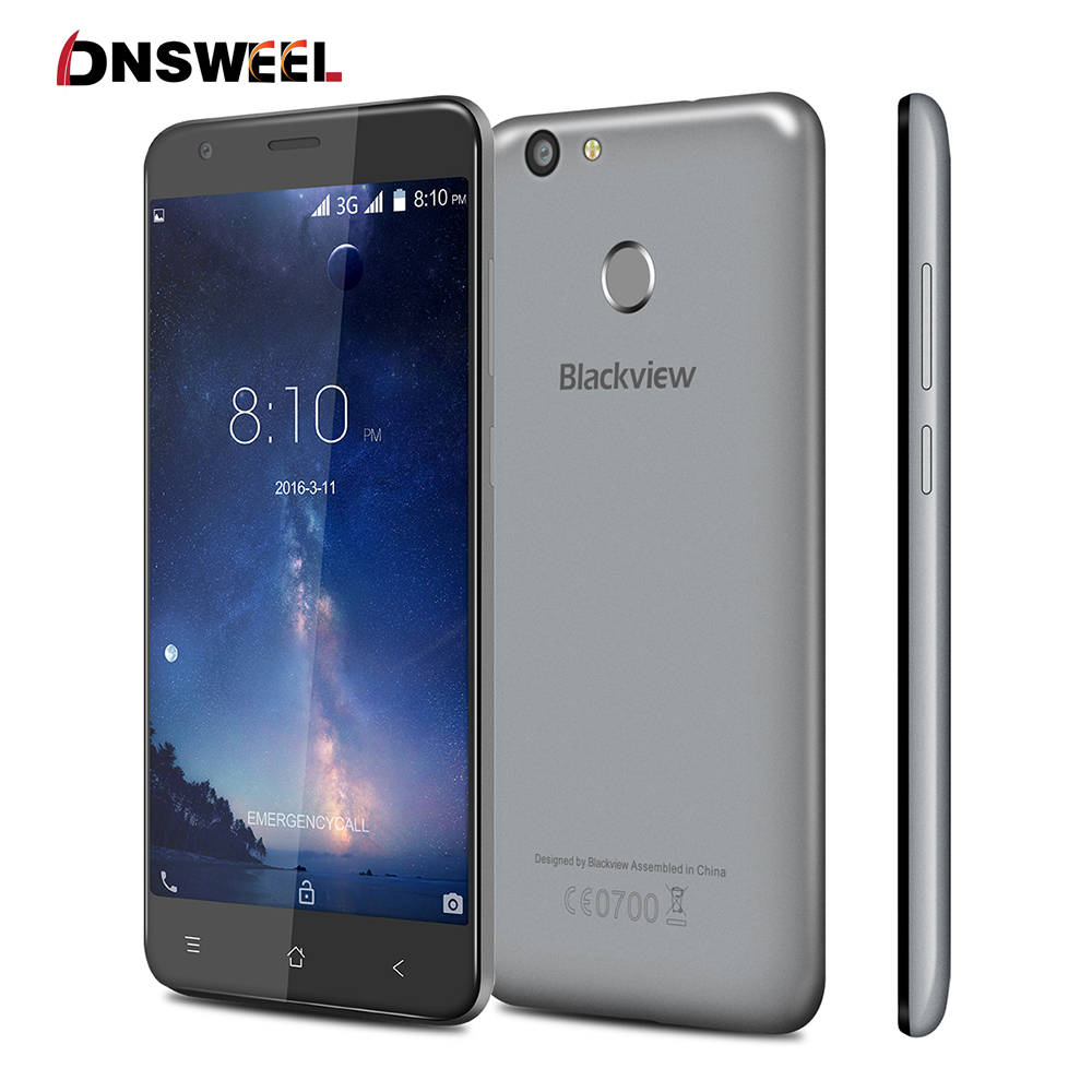 Free Case Blackview E7S  smartphone MT6580 Quad Core Android 6.0 Mobile Phone 5.5 inch 2GB +16GB 8MP cell phone Fingerprint ID